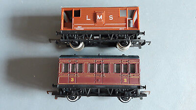 Hornby Lms Coach + Guards Van With Tailight Vg Condition Unboxed Oo Gauge(Hb)