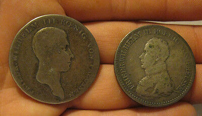 Prussia (Germany) - (2) Large Silver Thalers (1814-1818)