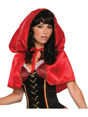 Womens Little Red Riding Hooded Short Hooded Cape Costume Accessory