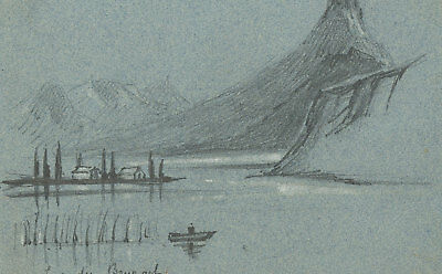 T. Dobson - Set of Three Late 19th Century Graphite Drawing, Lac du Bourget