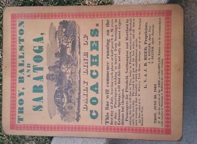 1834 Stage coach Ad Poster board Saratoga Troy Ballston express Railroad