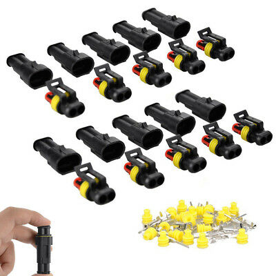 10x Kits 2 Pin Way Sealed Waterproof Electrical Wire Connector Plug Car Auto Set