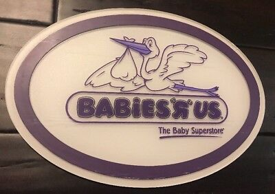 """Babies R Us Toys R Us hard plastic store display sign 13.5"""" Acrylic Rare Baby"""