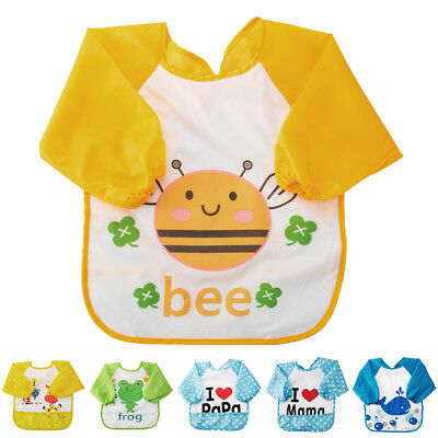 Children Baby Toddler Waterproof Long Sleeve Art Smock Feeding Bib Apron AU