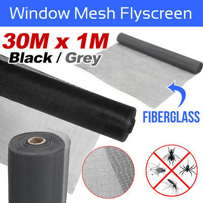 Roll Insect Flywire Window Fly Screen Net Mesh Flyscreen Black/ Grey 100FT / 30M