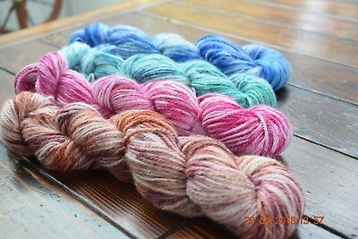 "Hand Dyed "" Hello Parker"" Alpaca Merino 10 Ply Knitting Coordinated Skein Kit"