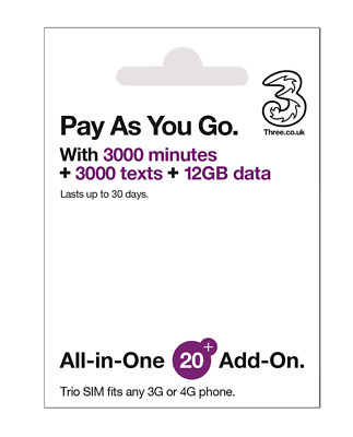 Prepaid Europe (UK THREE) sim card 12GBdata+3000mins for 30 days Best for travel