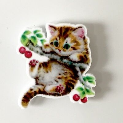 Cute Hang In There Kitten Retro Vintage Style Fridge Magnet