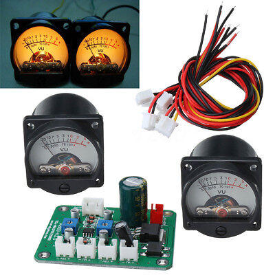 2pc Panel VU Meter Warm Back Light Recording & Audio Level Amp with Driver Board