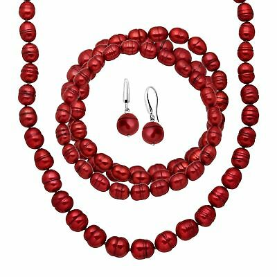 Honora Red Ringed Pearl Earring, Bracelets & Necklace Set in Sterling Silver