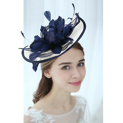 Races Wedding Feather Flower Sinamay Fascinator Lady Hair Band Headband Hat Lady