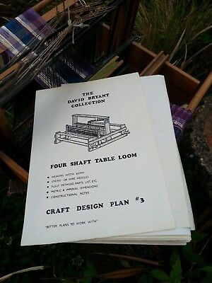 copy plans TABLE TOP WEAVING LOOM - DAVID BRYANT pattern No.3 wood carpentry
