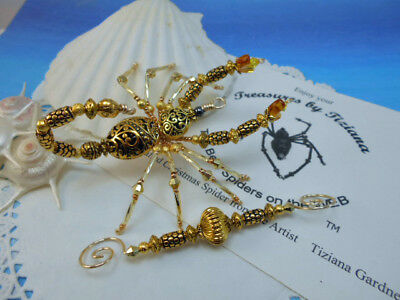 TreasuresbyTiziana® Beaded Filigree Gold Heart Scorpion Scorpio Ornament Gift