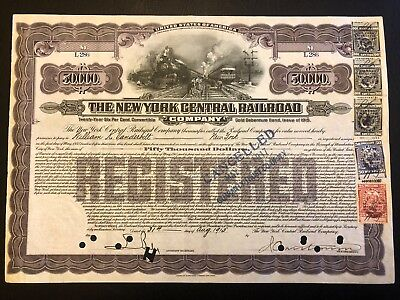 1915 NY Central RR $50000 Bond Issued to W. Vanderbilt RARE Secured Debt Stamps