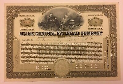 1916 Maine Central Railroad Stock Certificate Issued Signed by Morris McDonald