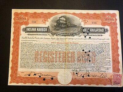 1908 Indiana Harbor Belt RR $10000 Bond NY RARE $25 Secured Debt VANDERBILTS!!