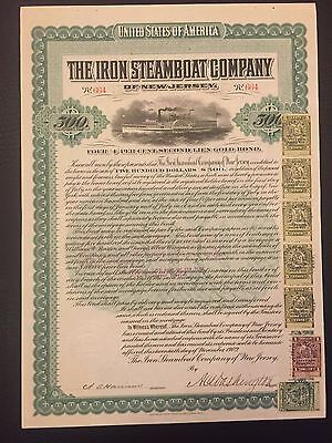 1902 Iron Steamboat Of New Jersey $500 Bond W/ Multiple Ny Secured Debt Stamps!