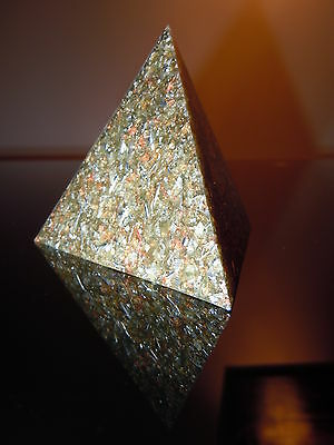 Geo Orgone Tetrahedron Pyramid Gold Silver Copper Brass Steel Shungite Wealth OM