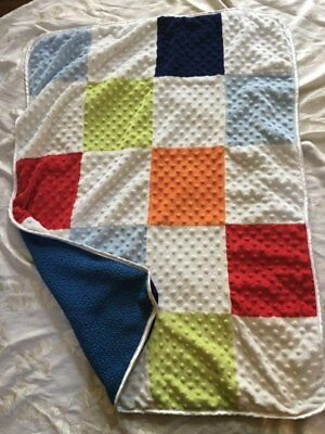 Circo Baby Target Minky Patchwork Dot Square Blue Sherpa Blanket Red White