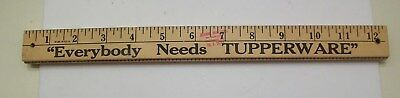 "Vintage Wooden Folding ""Everybody Needs Tupperware"" Yard Stick, Ruler, 1960's"