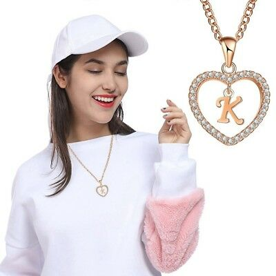 1pc 26 Letters Heart Love Crystal Women Gold Chain Necklace