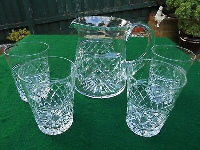 Vintage English Crystal Hand Cut Jug And Glasses Water Set Like New