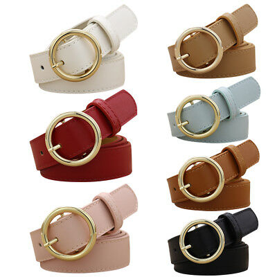New Fashion  Alloy Circular Buckle Waist Belt Womens Vintage PU Waistband
