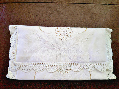 Vintage White Lace Clutch Purse - Bride, Wedding - Embroidery, Crochet - Prom