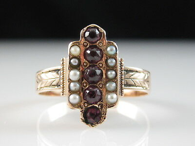 Antique Ring 14K Rose Gold Victorian Seed Pearl Vintage Estate Art Deco Retro