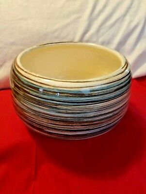 Vintage Planter Marked USA Round White With Multi Color Stripe