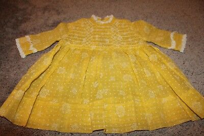 Vintage Polly Flinders yellow dress size 4 hand smocked