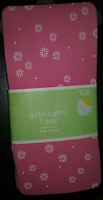 New Pair Girls Size S/M Tights Pink With White Flowers Easter