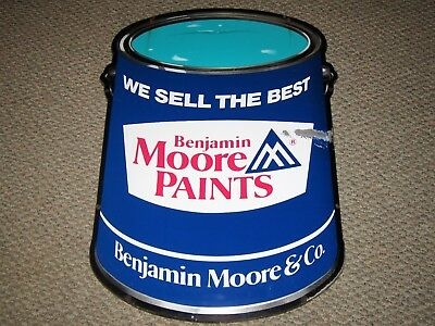"VINTAGE 1960s DIE-CUT BENJAMIN MOORE PAINTS CAN ADVERTISING METAL SIGN 35"" X 26"""