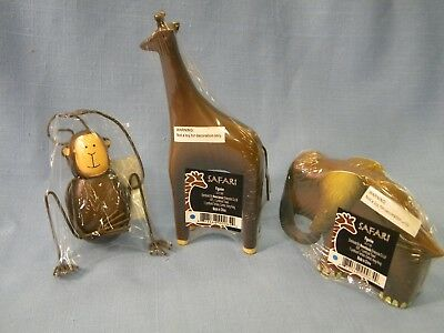 Unique 3 Piece African Safari Animal sculptures Elephant Giraffe Monkey Decor