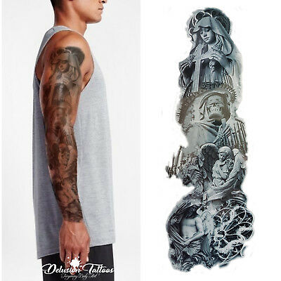 Realistic Temporary Tattoo Sleeve, Stairway, Heaven, Angel, Skull, Mens, Womens