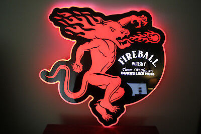 Rare FIREBALL WHISKY LED bar mancave sign Brand New with box