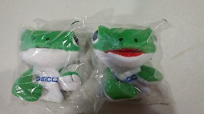 Geico Gecko Plush Finger Puppets Lot Of 2
