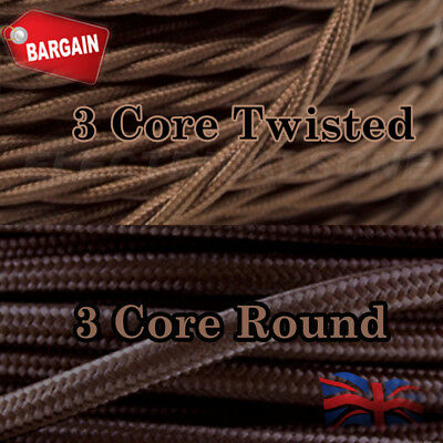 Twisted/Round Vintage Brown Fabric Coloured Lighting Cable Flex 3 Core 0.75mm