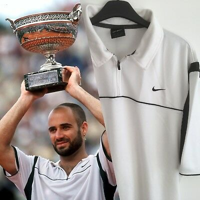 Nike Tennis Andre Agassi French Open 1999 Title Vintage Shirt 90s Medium