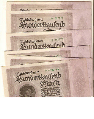 20 Conseq. Order Weimar Republic 100000 Mark Notes With Bank Band