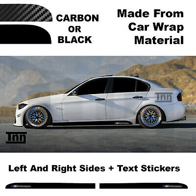 BMW E90 E91 E92 3 Series M Performance Side Skirt 3D Carbon Sticker Decal Black