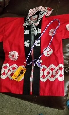 Japanese boy's robe, Yukata, in red cotton  Boys 5-8 years. Excellent condition
