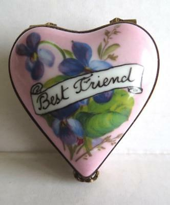 "Antique Limoges Heart Shaped Hand Painted Trinket Box with Flowers ""BEST FRIEND"""