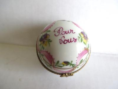 "Antique Limoges La Main Ball Shaped Hand Painted Trinket Box ""Pour Vous"" For You"
