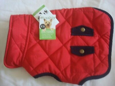 WAG-A-TUDE XX-Small Red quilted navy trim pocket jacket.