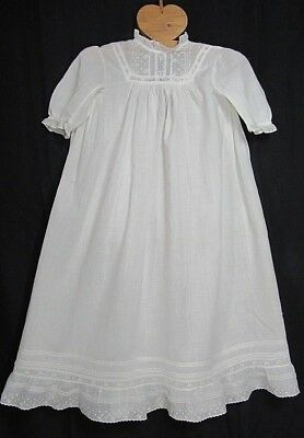 """Vintage Edwardian Baby Infant Nightgown Dress Cotton 27"""" Long"""
