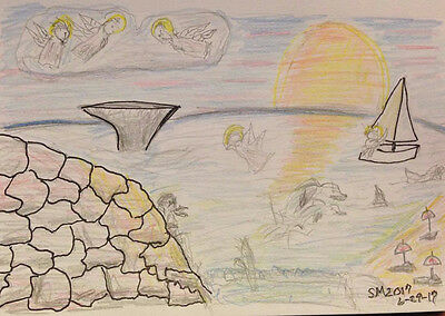 Angels by the Sea. Dream. Small. Abstract. Markers Pencils. Serene.