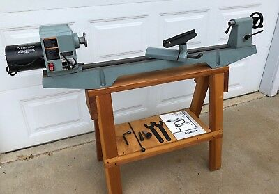 "Delta Wood Lathe, 12"" Variable Speed 46-700 with Custom Wood Stand"