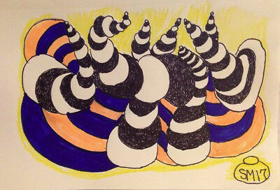 Spiral Gyrations. Original drawing. Small. Abstract. Markers. Perspective.