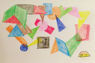 Cycle of Life-drawing. Small. Art. Abstract. Colors. Geometric. Points.